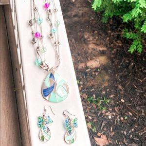 Aqua and Purple Necklace and Earrings set